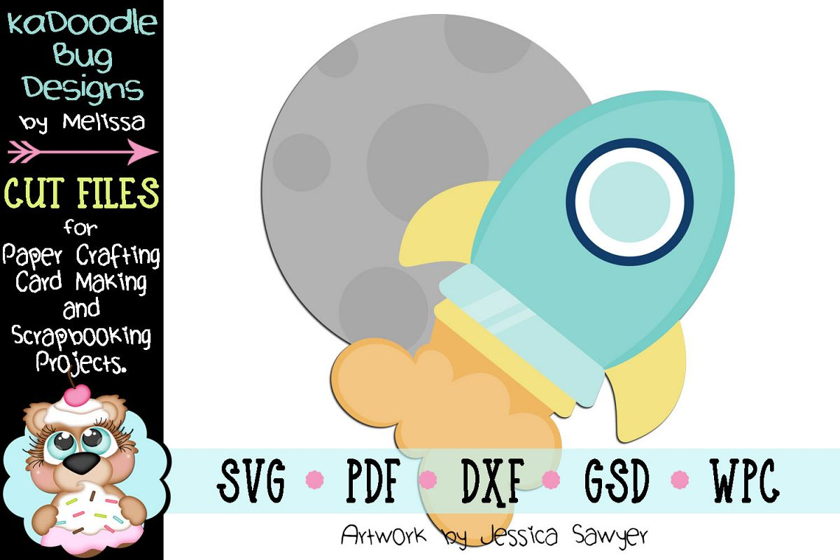 Moon Rocket Cut File - SVG PDF DXF GSD WPC example image 1