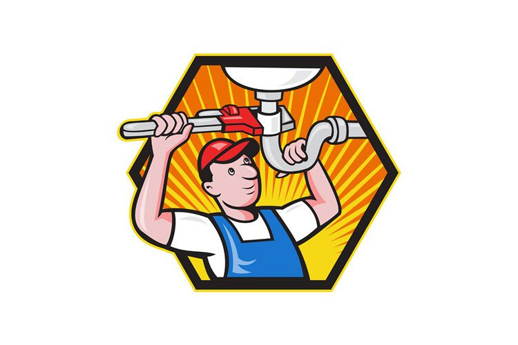 Plumber Worker With Adjustable Wrench example image 1