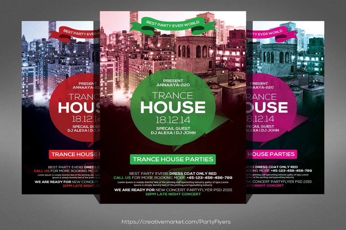 Trance House Party Flyer example image 1
