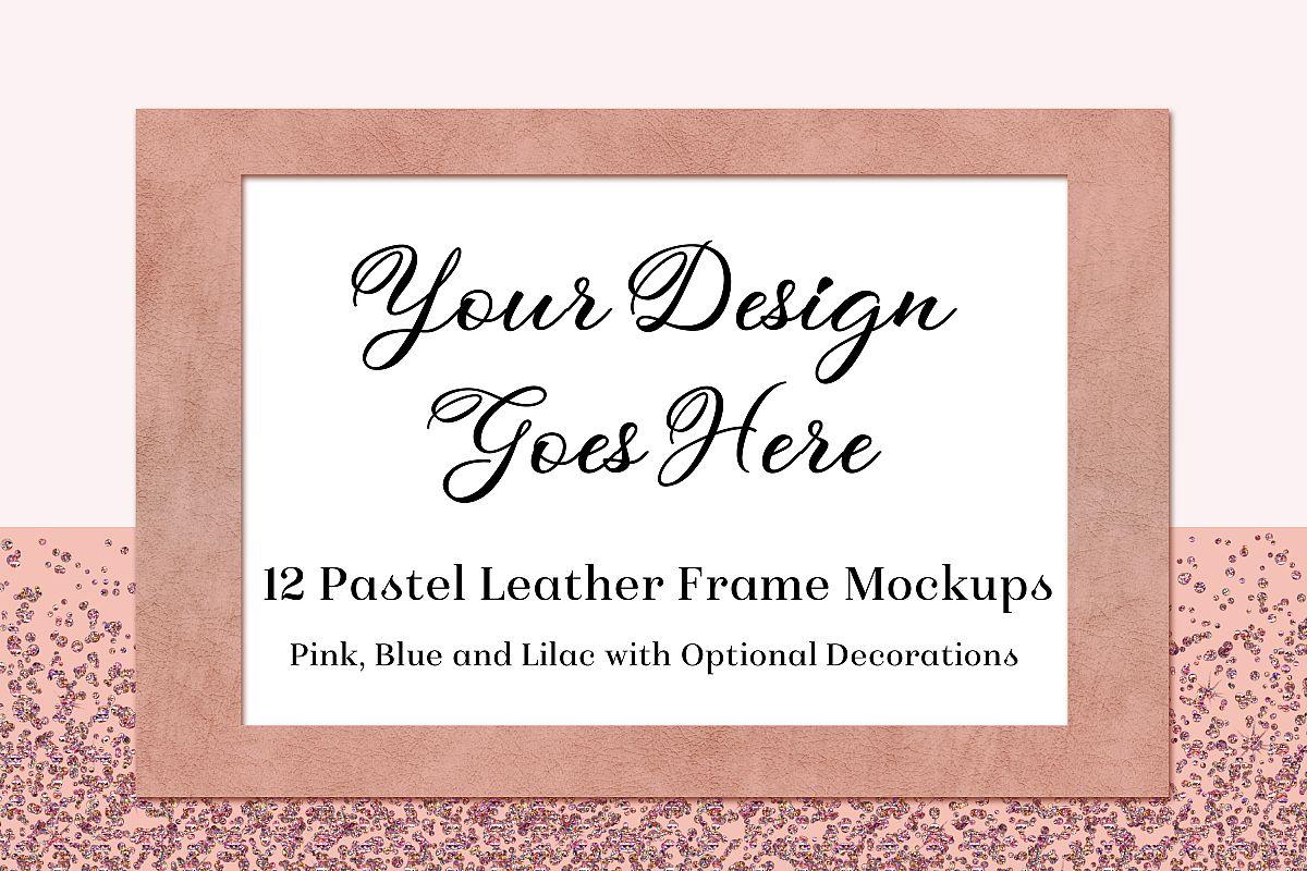 Pastel Leather Frame Mockups -Pink, Blue & Lilac - 12 PSDs example image 1