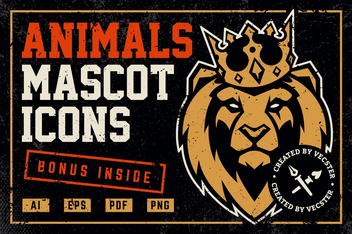 Animals Mascot Icons Vector Set example image 1
