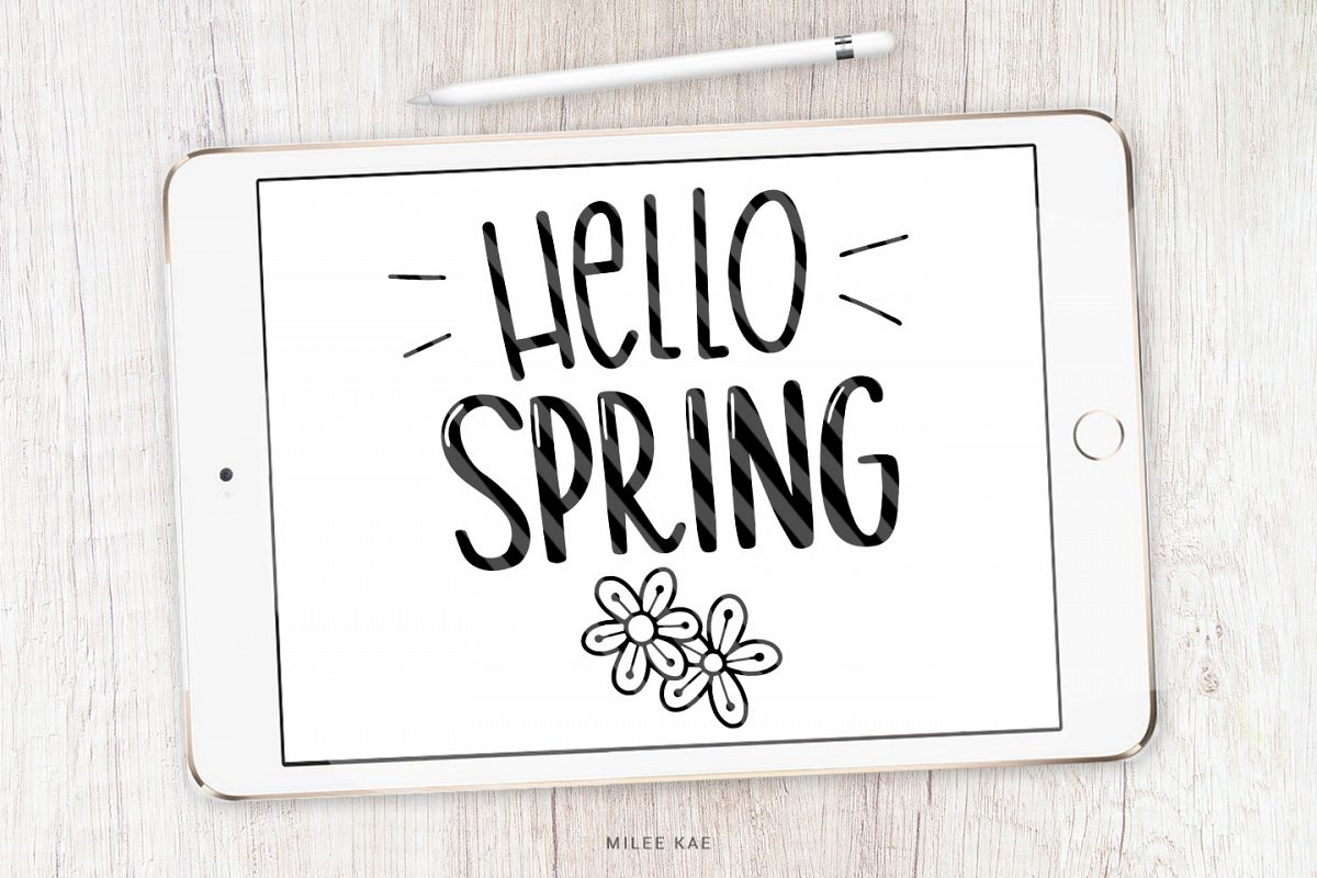 Hello Spring SVG, Cutting file, Decal example image 1