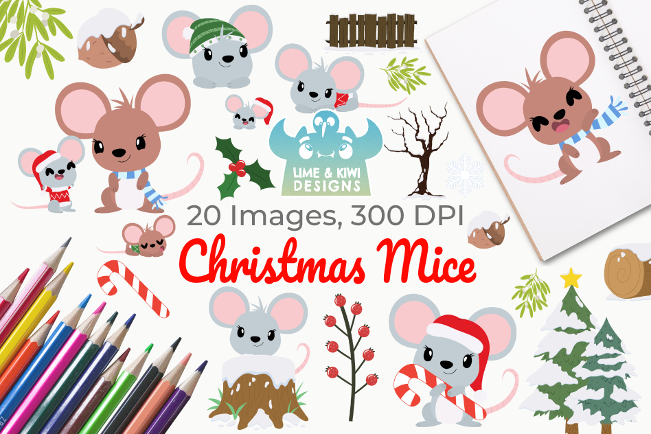 Christmas Mice Clipart, Instant Download Vector Art example image 1