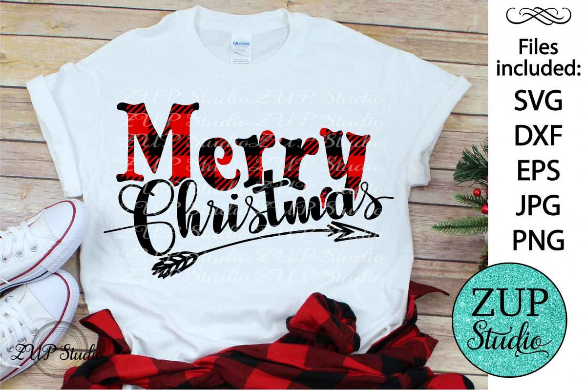 Merry Christmas Plaid SVG Design Cutting Files 301 example image 1