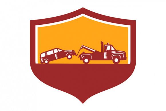 Tow Truck Towing Car Shield Retro example image 1