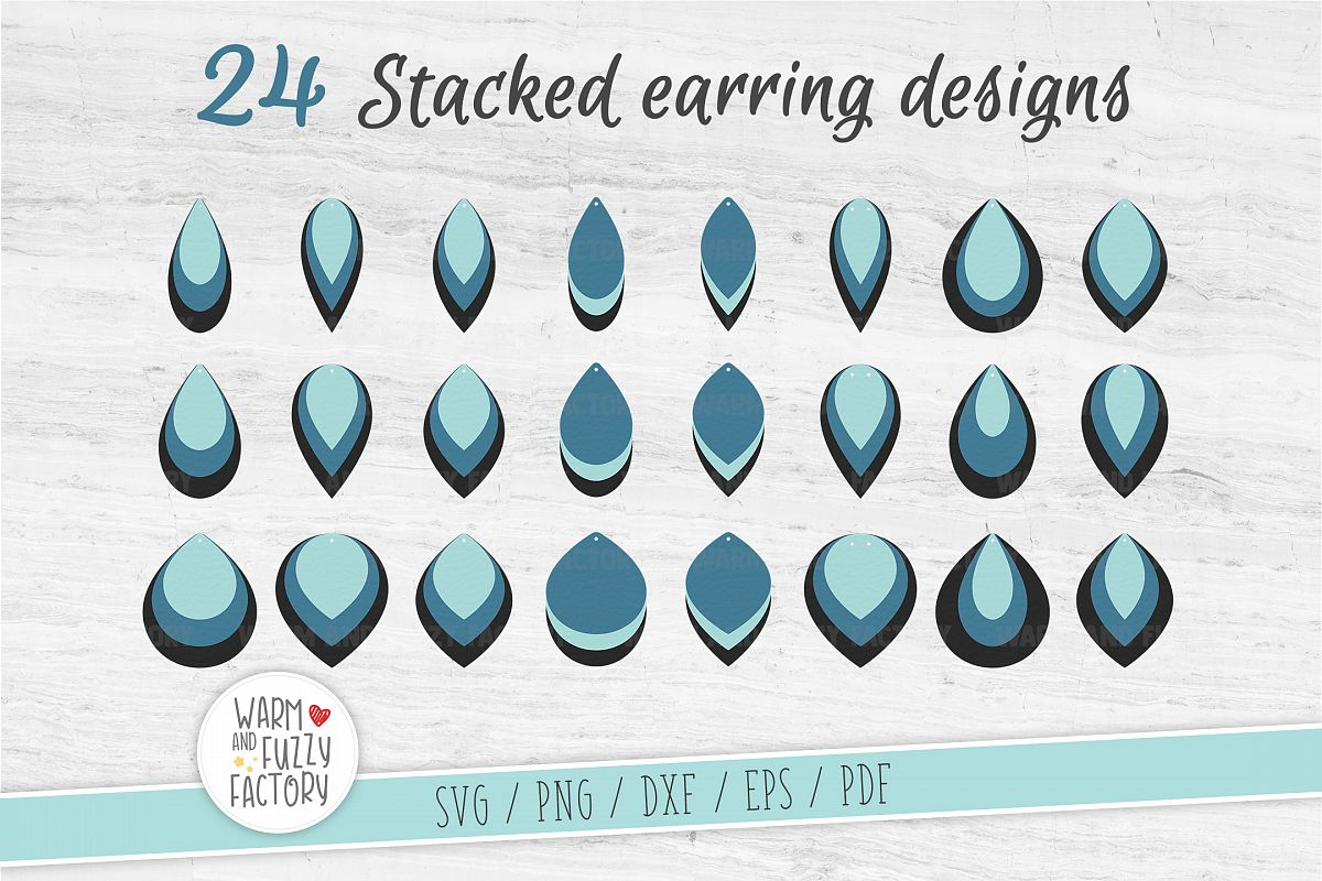 Stacked earring svg, Earring svg bundle, Earrings template example image 1