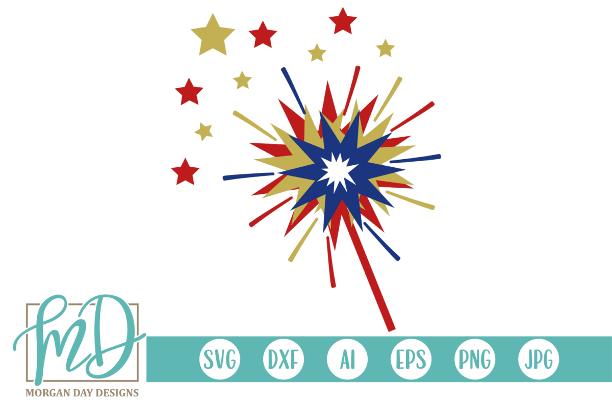 Sparkler - 4th of July SVG, DXF, AI, EPS, PNG, JPEG example image 1