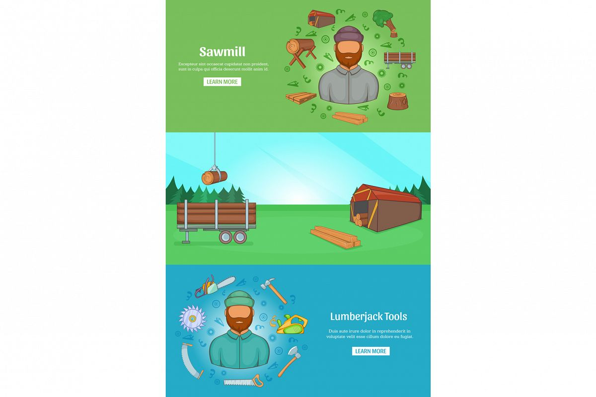 Sawmil and timber banner set template, cartoon style example image 1