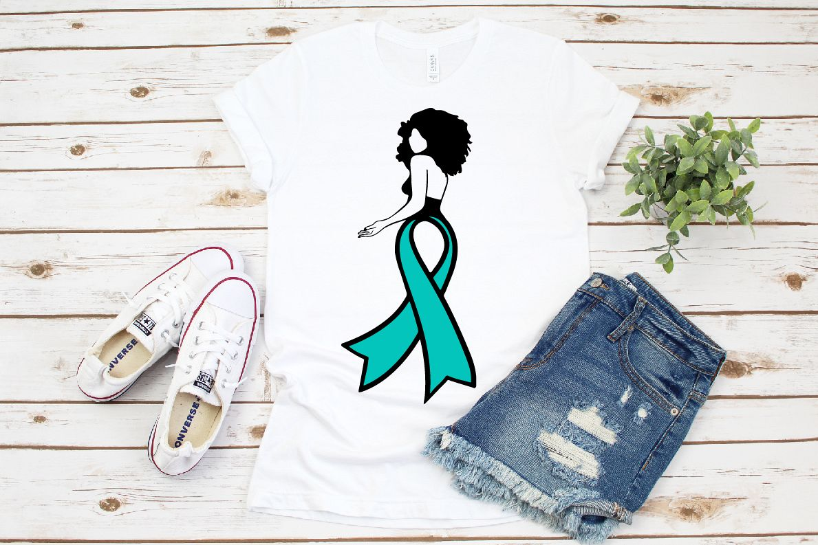 I wear teal for my mom cut file in SVG, DXF,Cancer Ribbon example image 1