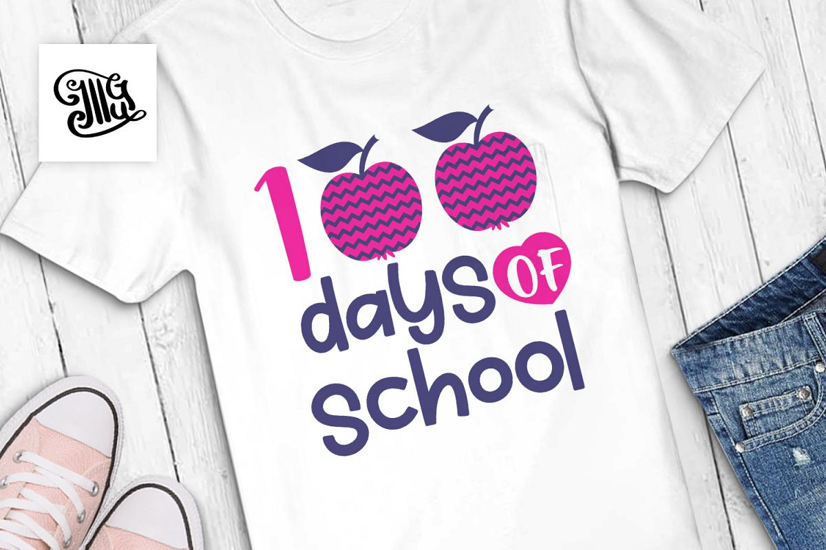 100 Days of school girls svg example image 1