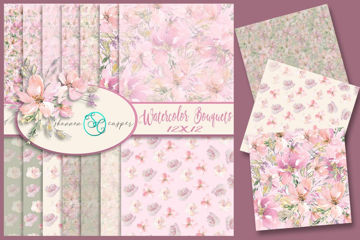 14 Watercolor Spring Bouquet Scrapbook Digital Papers, 12X12 example image 1