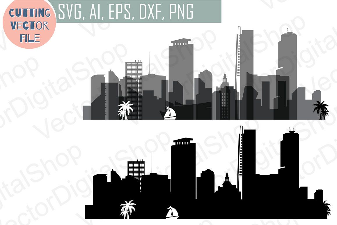 Miami Skyline Vector Florida Usa City Svg Jpg Png Dwg