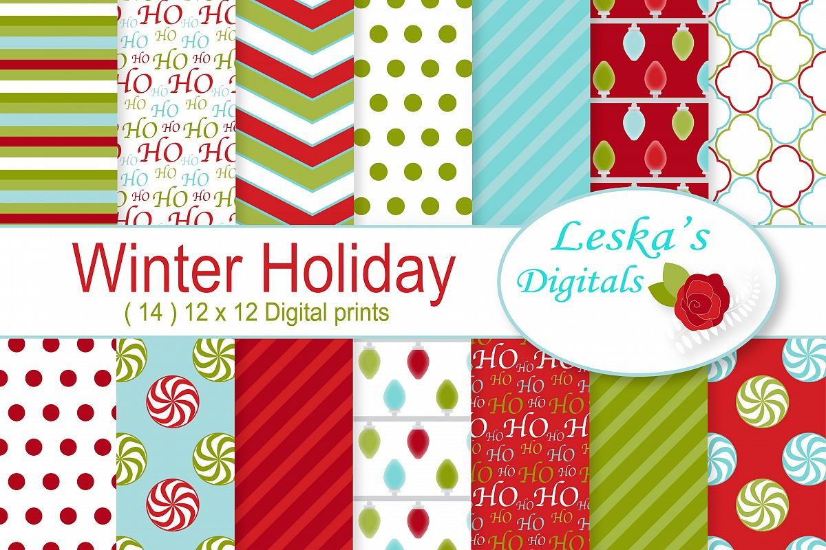 Winter Holiday Digital Paper example image 1