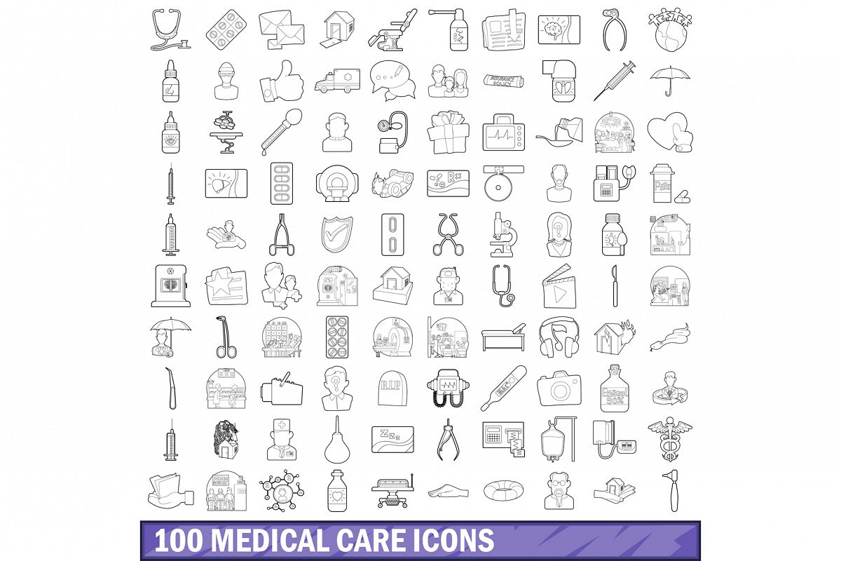 100 medical care icons set, outline style example image 1