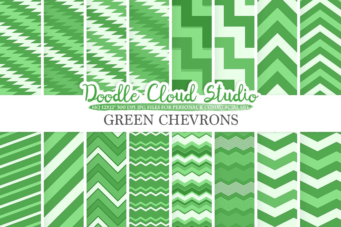 Dark Green Chevron digital paper, Chevron and Stripes  pattern, Zig Zag lines background, Instant Download for Personal & Commercial Use example image 1