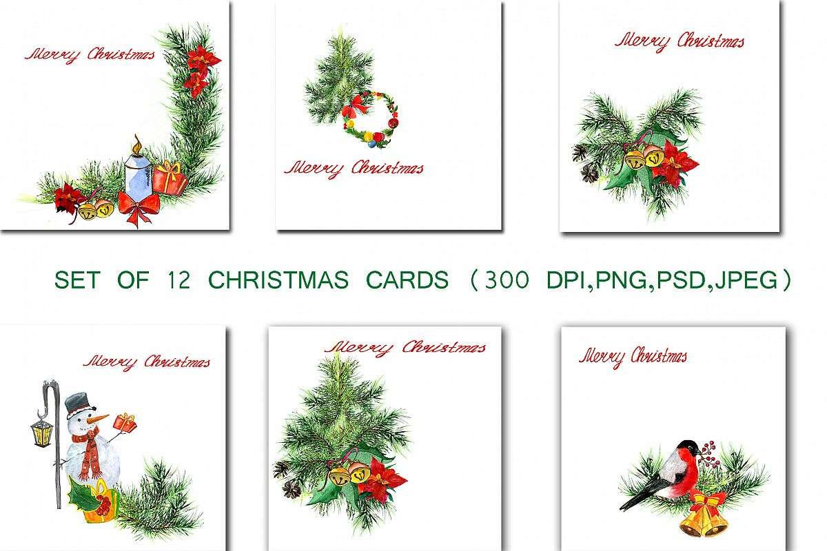 Set of greeting Christmas cards example image 1