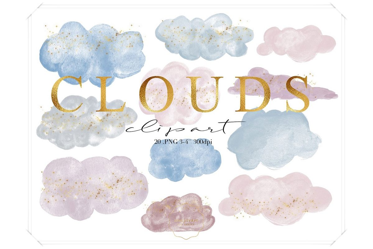 Watercolor Clouds Clipart example image 1