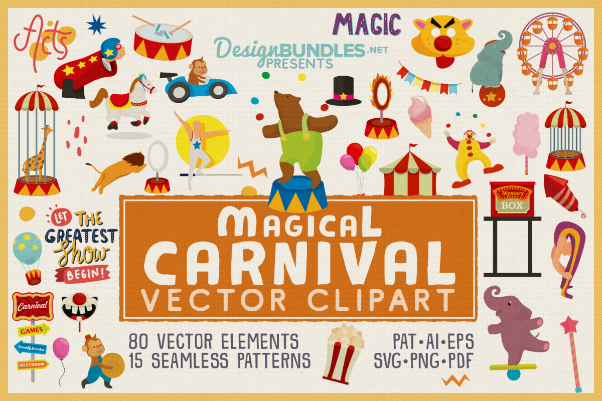80 Magical Carnival Vector Clipart & Seamless Patterns example image 1