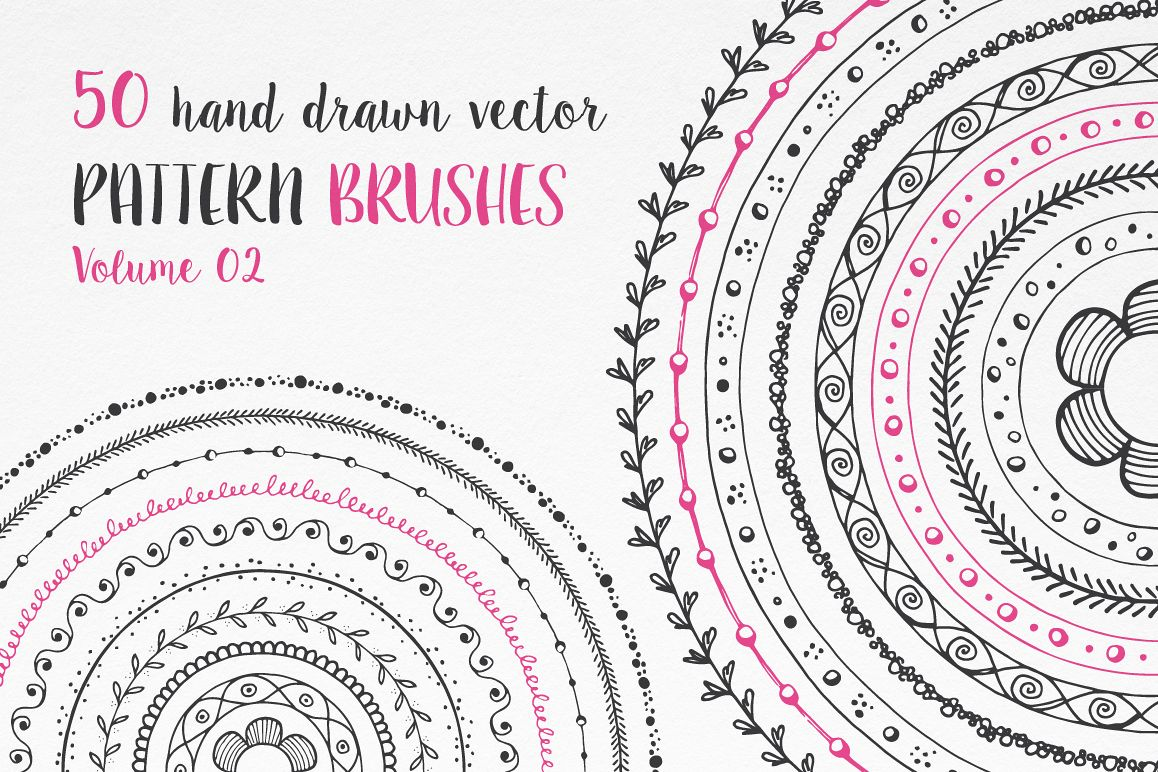 Hand Drawn Pattern Brushes Vol. 02 example image 1