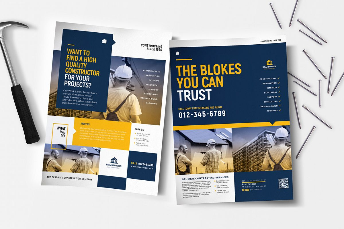 A4 Construction Company Advertisement Templates example image 1