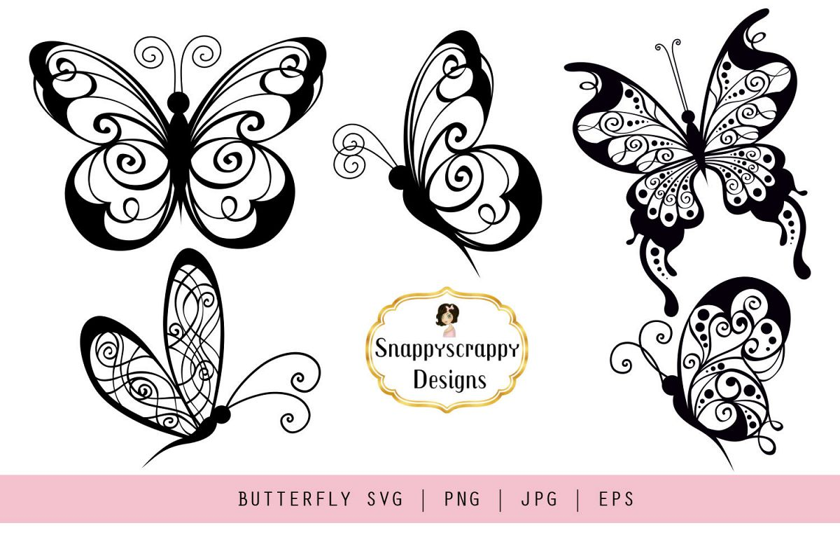 Butterflies - SVG example image 1