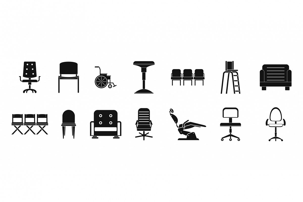 Chair icon set, simple style example image 1