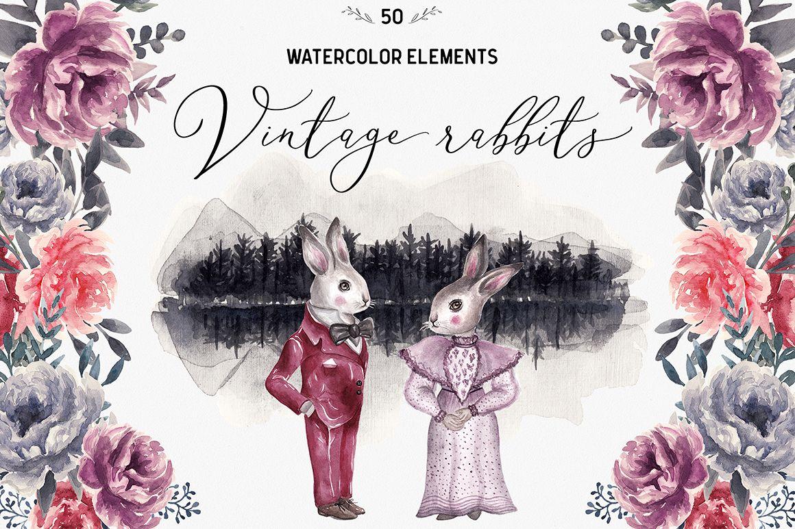 Spring Vintage Wedding Watercolor Rabbits example image 1