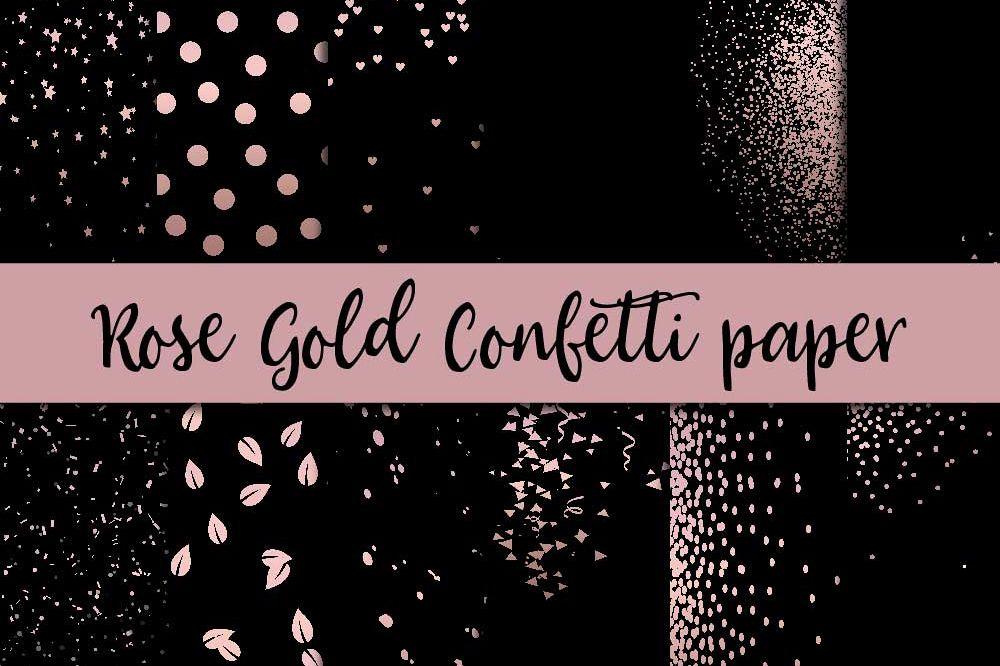 Rose Gold Confetti Digital Paper example image 1