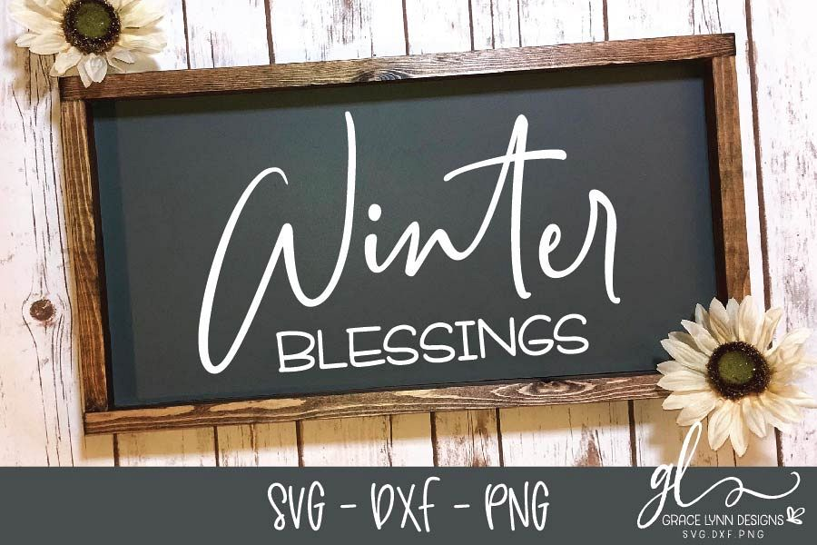 Winter Blessings - Christmas Cut File - SVG, DXF & PNG example image 1