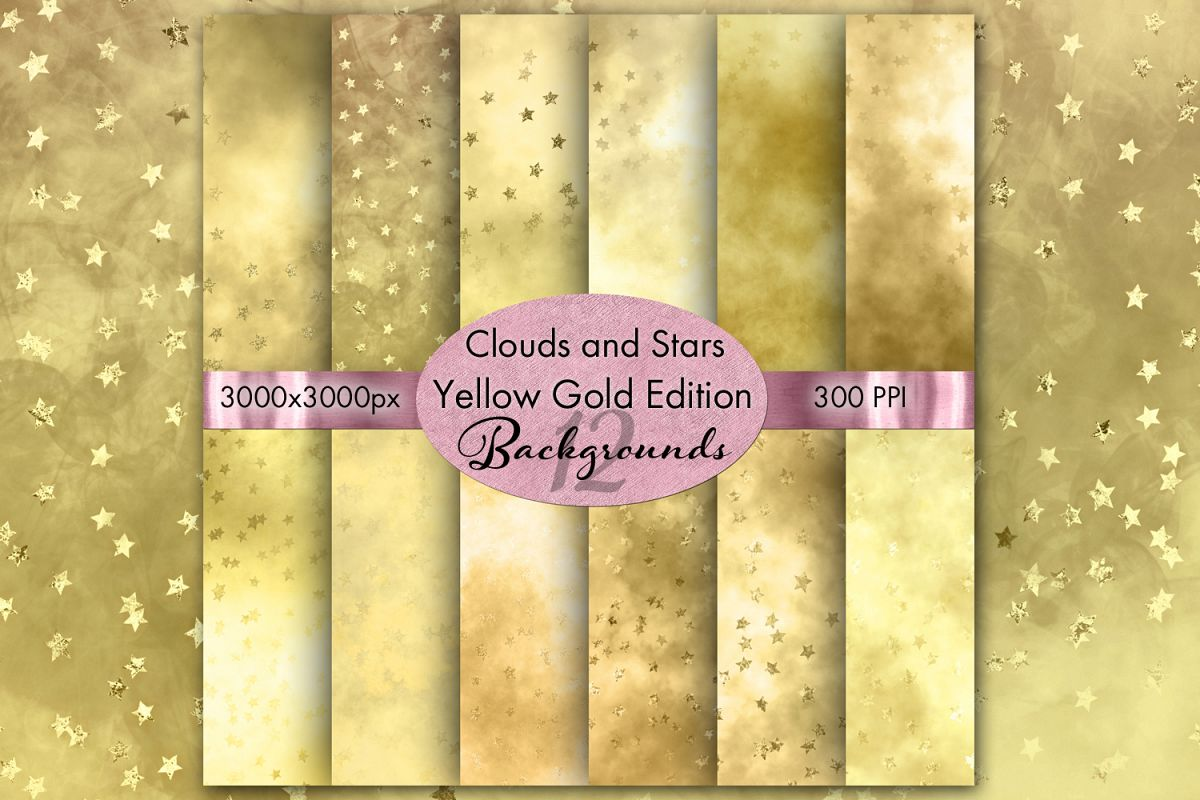 Clouds and Stars Yellow Gold Edition Backgrounds - 12 Images example image 1