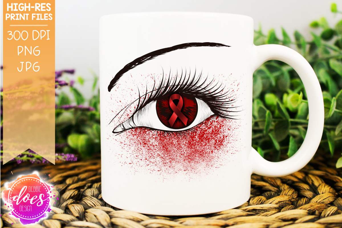 Red Awareness Ribbon Eye Printable Design example image 1
