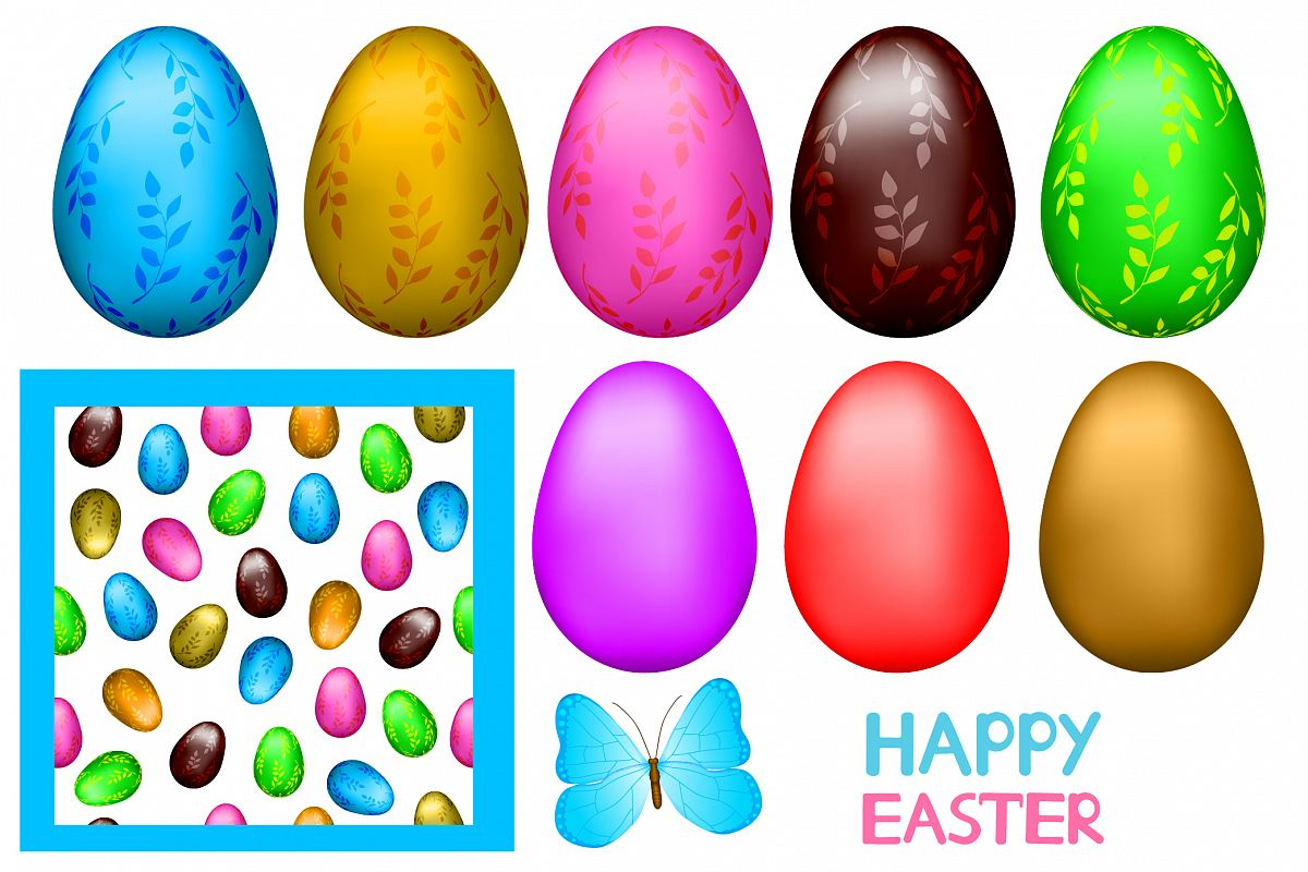 Easter set- EPS, Ai, JPG, PNG example image 1
