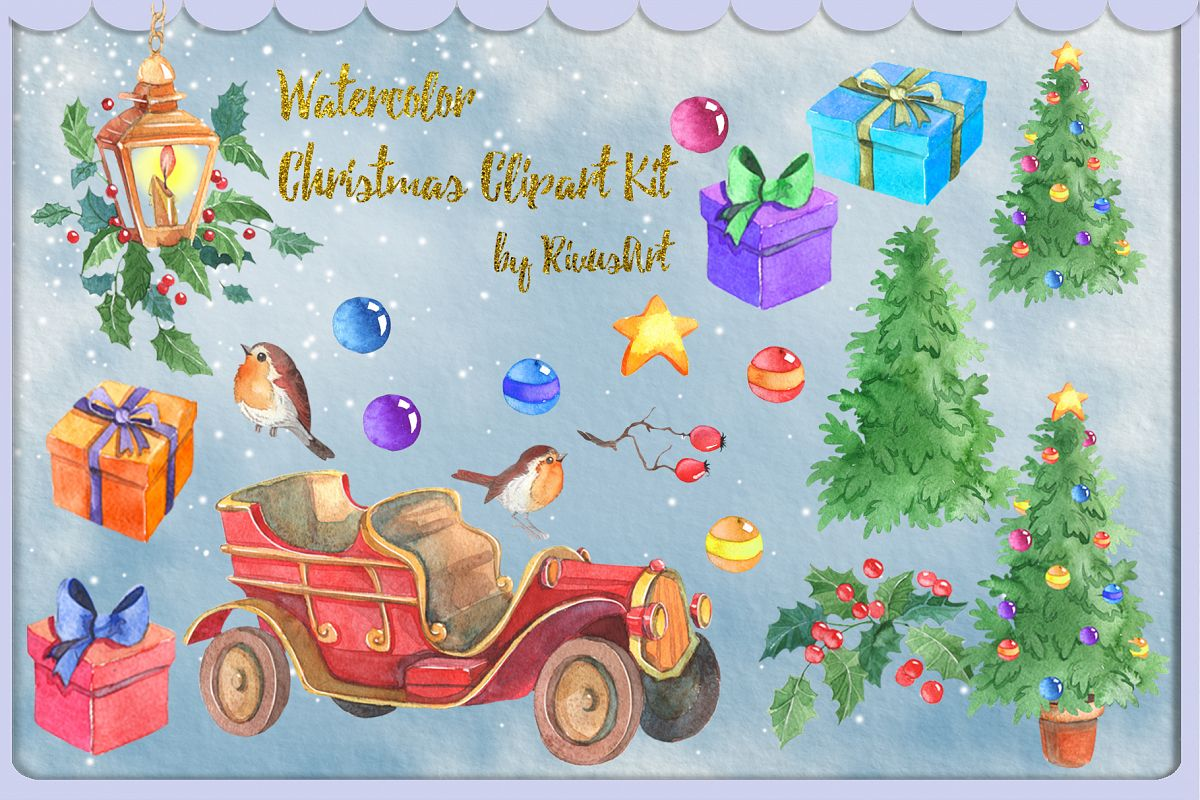 Watercolor Christmas clipart set example image 1