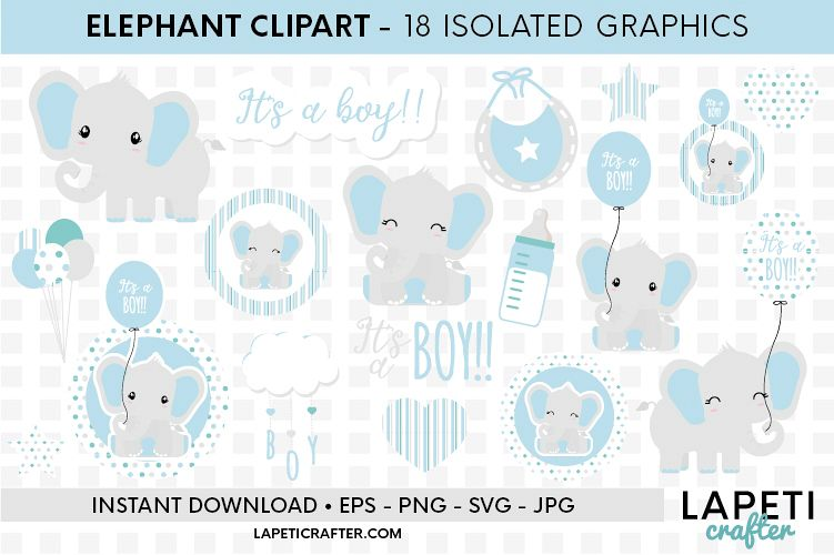 Baby Boy Elephant, gender reveal, baby shower clipart example image 1