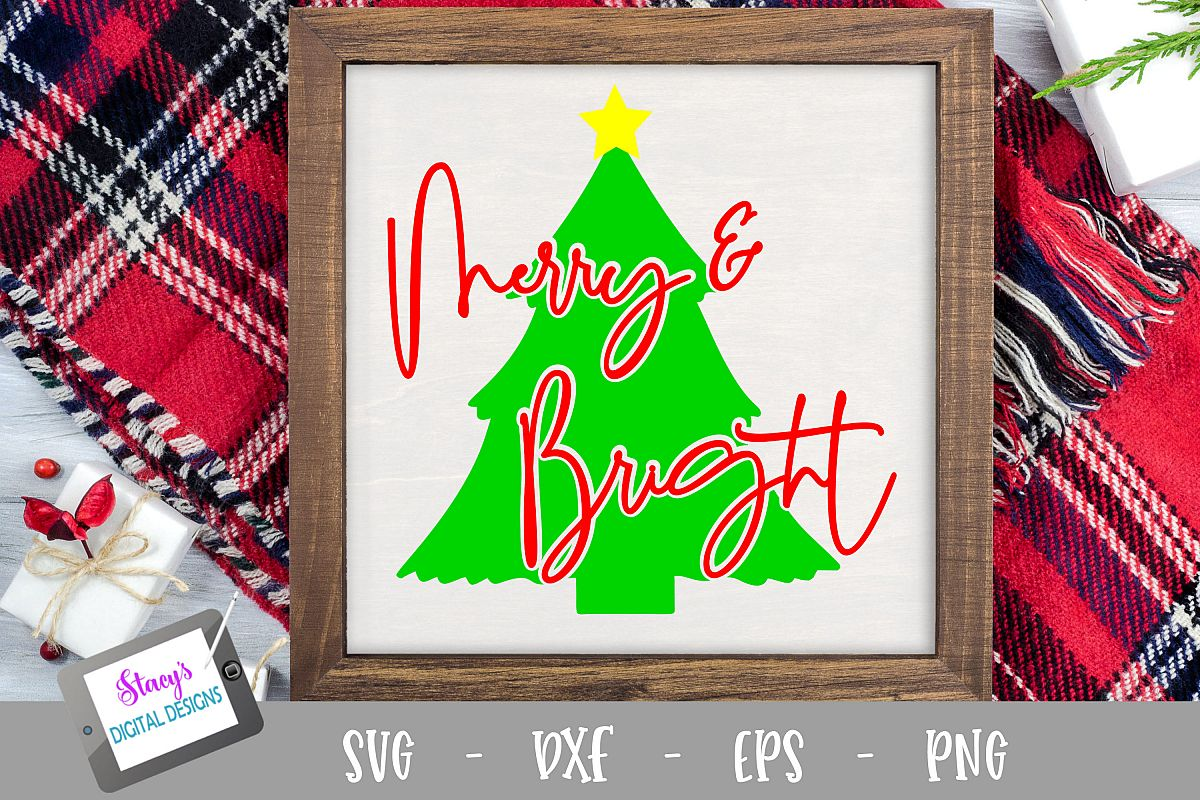 Christmas SVG - Merry and Bright SVG with Christmas Tree example image 1