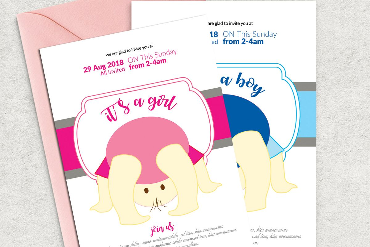 Baby Shower Invitation Psd Templates Example Image 1