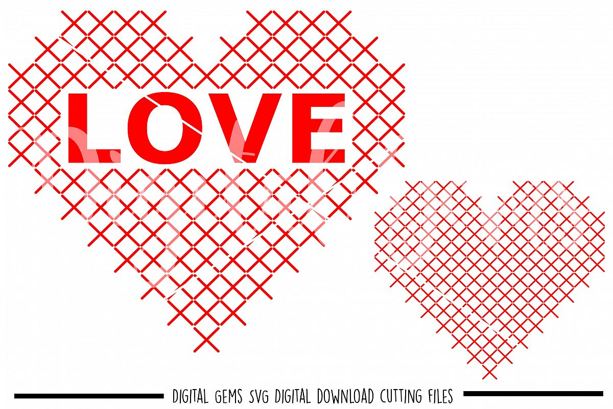 Heart cross stitch SVG / DXF / EPS / PNG files example image 1
