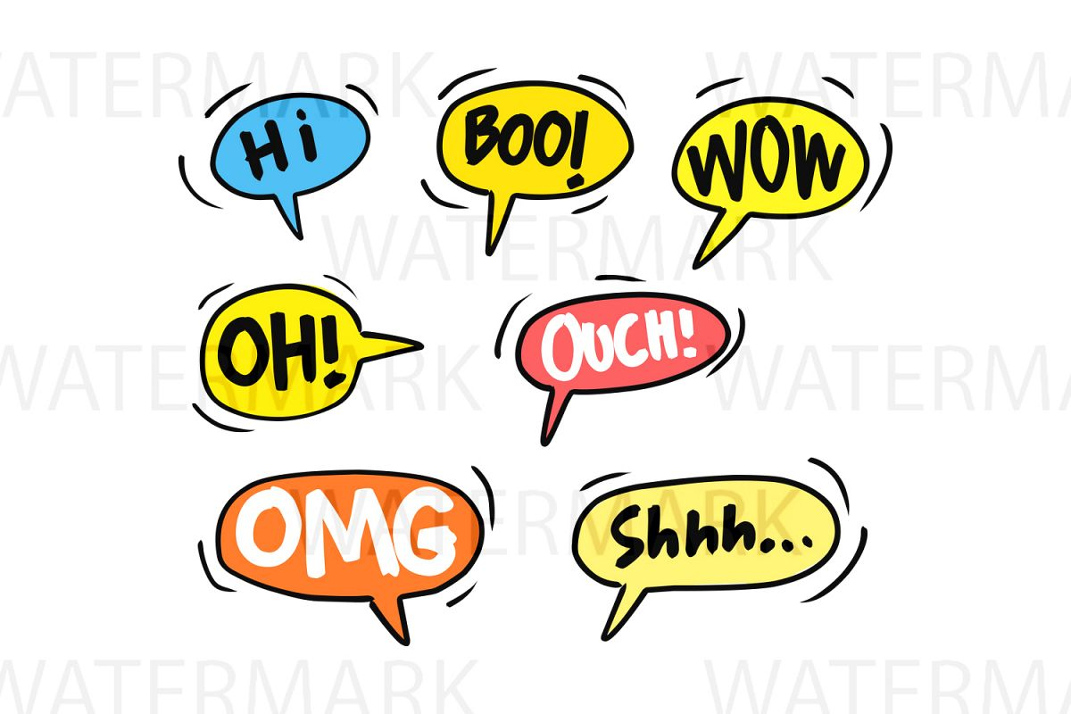 Speech Bubble Interjection Set 2 - SVG/JPG/PNG - Hand Drawing example image 1