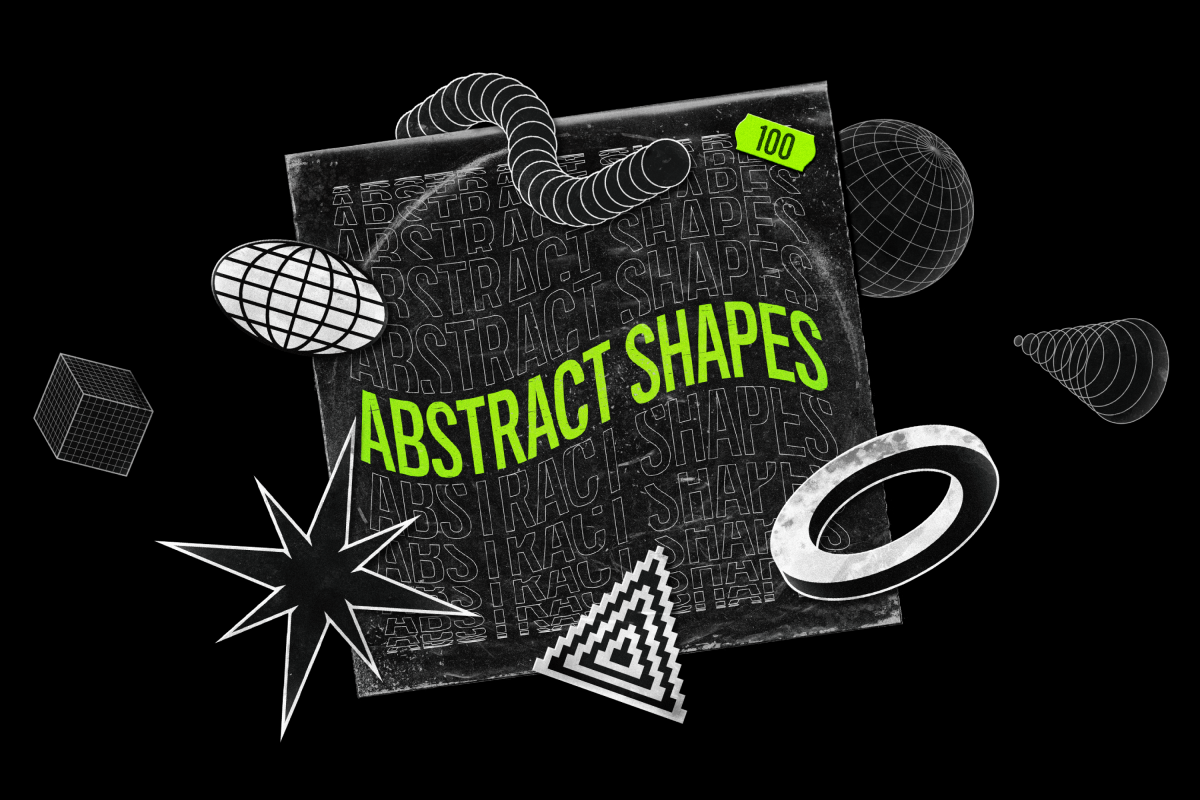 Abstract Shapes collection - 100 design elements example image 1