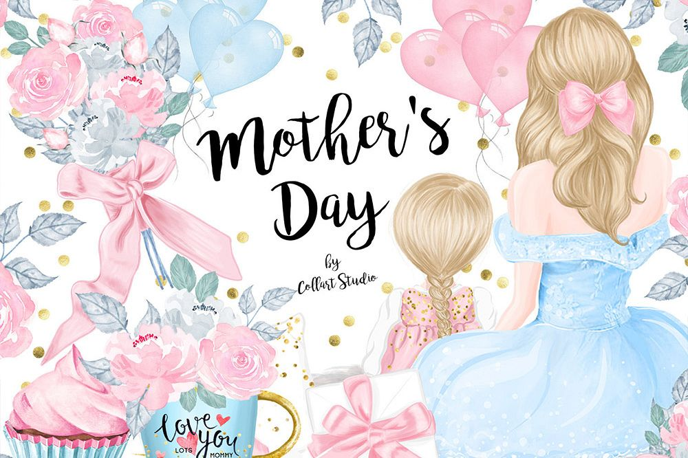 Mother's Day Clip Art, Mother Child Illustrations, Family example image 1