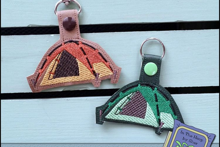 ITH Tent Camping Vinyl Key Fob or Bag Tag - Snap Tab Machine Embroidery