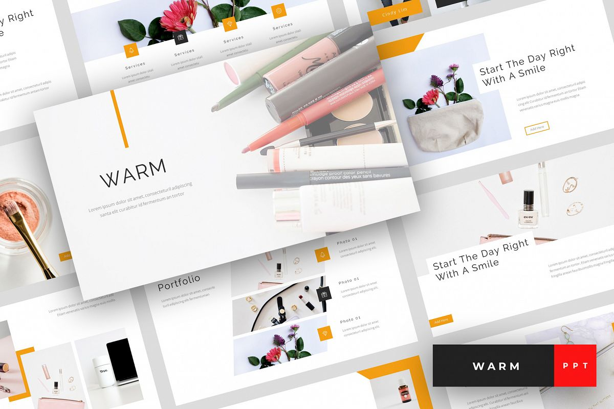 Warm A Beauty And Cosmetics Powerpoint Template