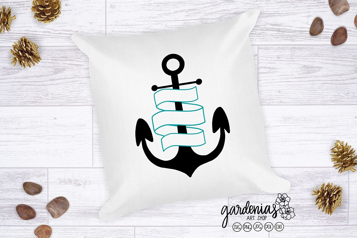 Anchor with Banner SVG | Boat Theme Cut File | Nautical SVG example image 1