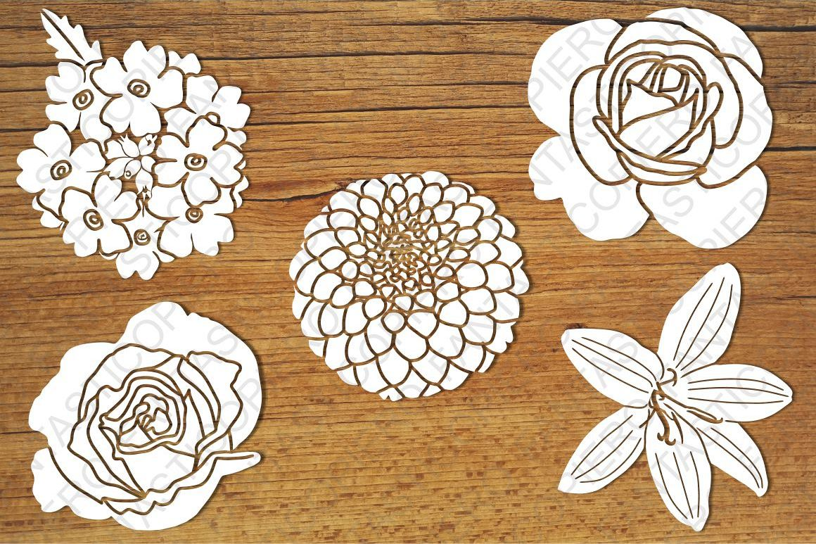 Flowers 1 SVG files for Silhouette and Cricut. example image 1
