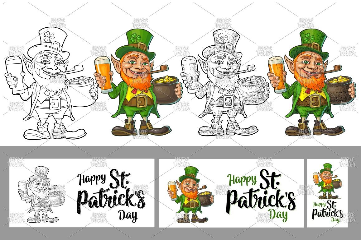 Leprechaun hold beer glass pot gold color vintage engraving example image 1