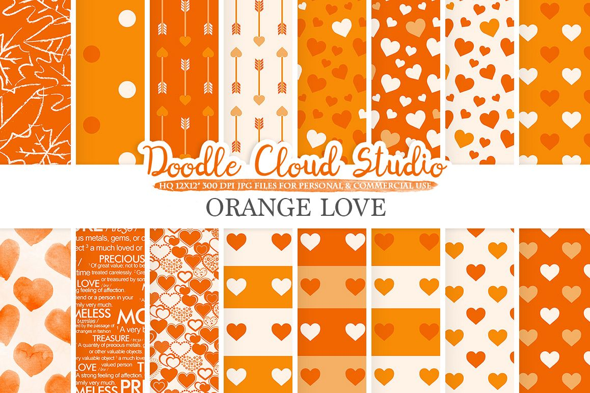 Orange Romantic digital paper, Valentine's day patterns,  Love, Roses, Romance Heart background, Instant Download, Personal & Commercial Use example image 1