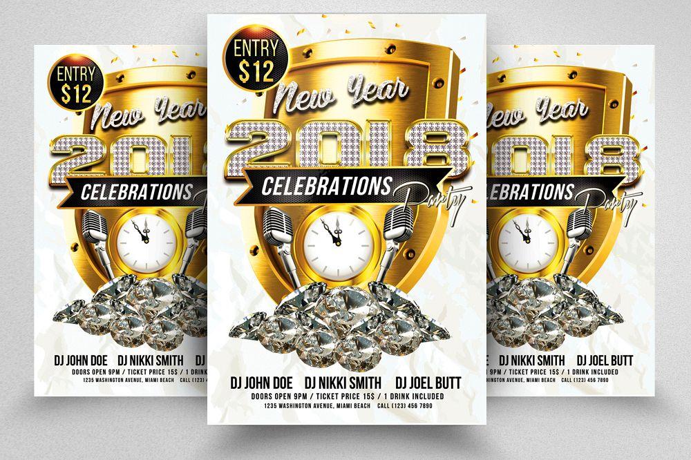 Happy New Year Flyer Psd Templates example image 1