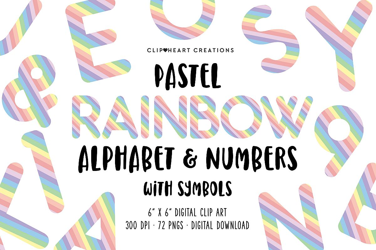 Pastel Rainbow Alphabet & Numbers with Symbols example image 1