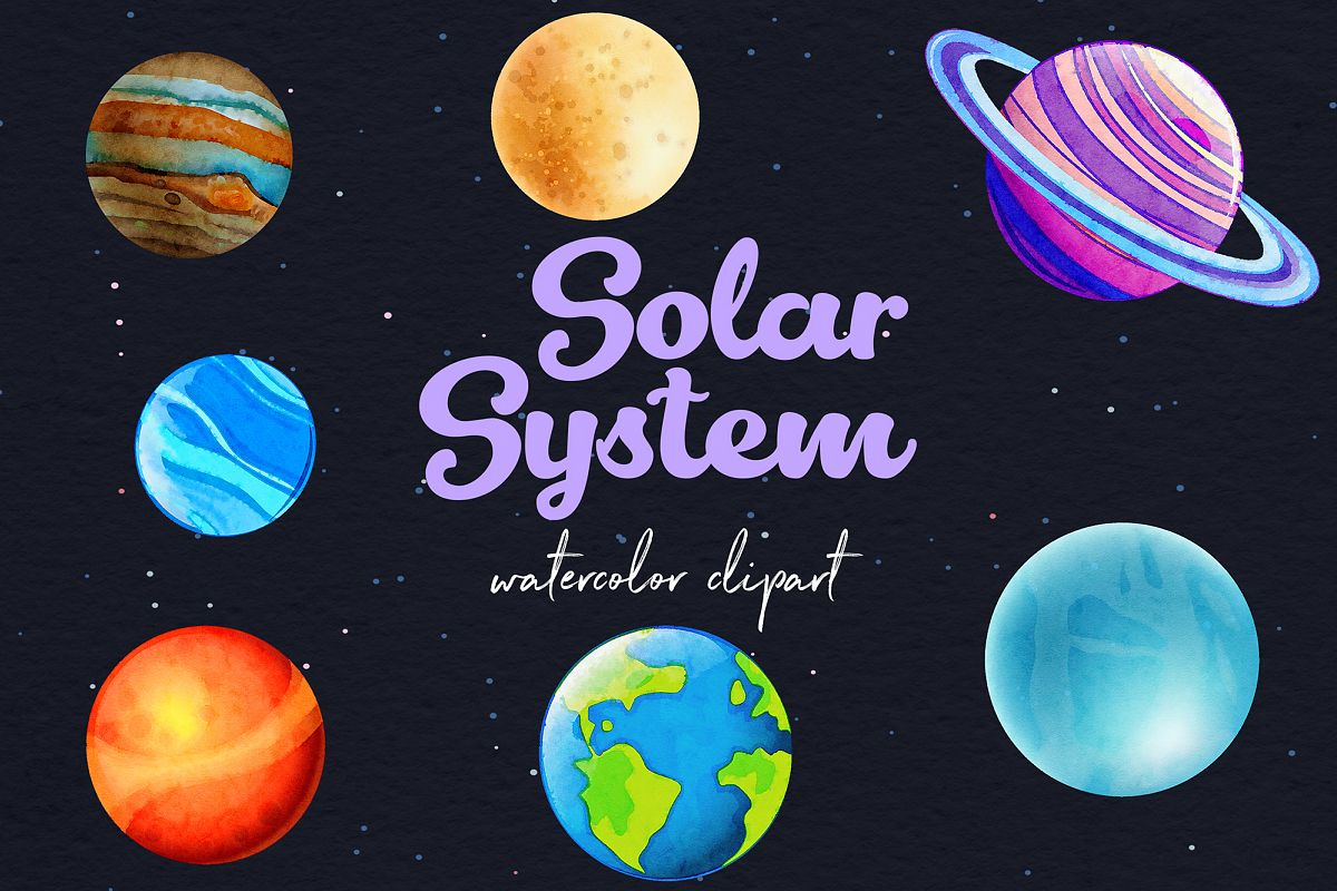 Watercolor Planets Clipart example image 1