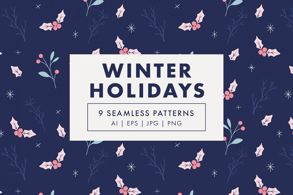 Winter Holidays Seamless Pattern Set example image 1